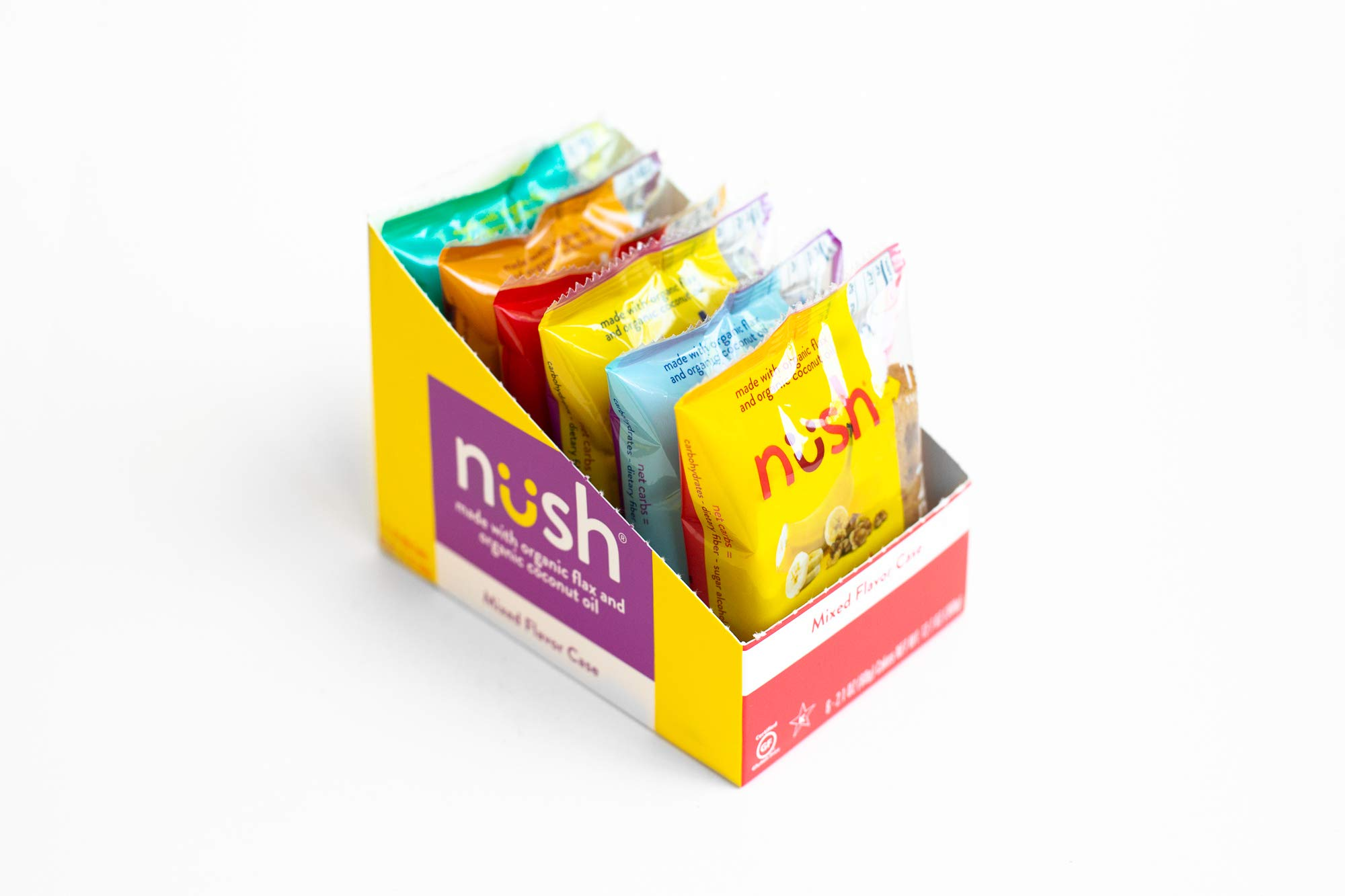 Low Carb Keto Snack Cakes (Flax-Based) - Mixed Flavor Case (6 Cakes) - Gluten Free, Soy Free, Organic, No Sugar Added - Great for Ketogenic, Low-Carb, Atkins, and Low-Sugar Diets by Nush Foods