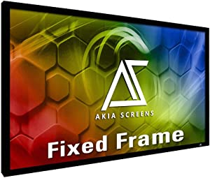 """Akia Screens 120 inch Fixed Frame Projector Screen Wall Mount 16:9 8K 4K Ultra HD 3D Ready CINEWHITE UHD-B Black 120"""" Projection Screen for Indoor Movie Video Home Theater Cinema Office AK-FF120WH2"""