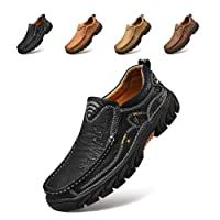 Alcubieree Mens Casual Leather Slip-On Walking Shoes
