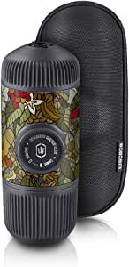WACACO Nanopresso Portable Espresso Maker Bundled with Protective Case, Tattoo Jungle Patrol Edition, Extra Small Travel Coffee Maker, Manually Operated Perfect for Travel, Camping, Office (Grey)