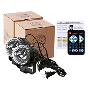 [2 Pack] Litake UV Black Lights 3W LED Disco Ball Party Lights Strobe Light Disco Lights, Sound Activated with Remote Control Dj Lights Stage Light for Festival Bar Club Party Wedding Show Home (Color: Uv Black Light, Tamaño: UV Black Light-2 Pack)