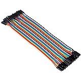 Aukru 40pcs x 20cm female-female jumper Kabel dupont wire Steckbrücken Drahtbrücken für Arduino Raspberry pi Breadboard (weiblichen zu weiblichen)