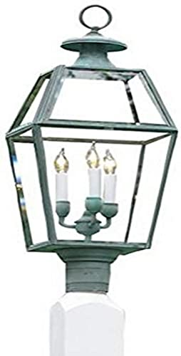 Lazy Hill Farm Designs 999066 – 05 Old Colony Post Mount Lantern, Verde Brass, 11-Inch Width by 29-1 2-Inch Height