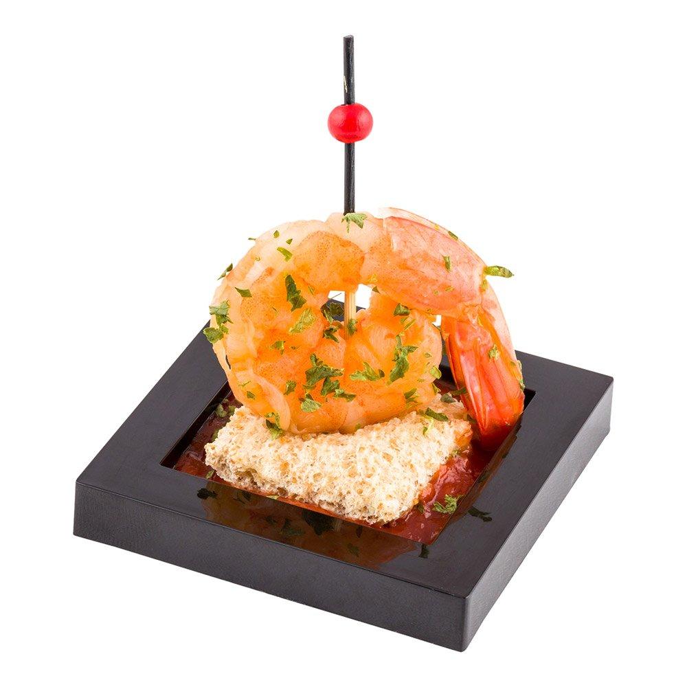 Cubic Square Appetizer Plate, Snack Plate, Mini Plate - Black - 2.5 Inches - 100ct Box - Restaurantware