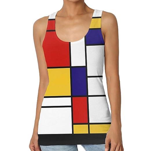 1c17d6e8329285 BLACK SP Womens Print Graphic Tank Tops Mondrian Style Fitness Sleeveless T- Shirt