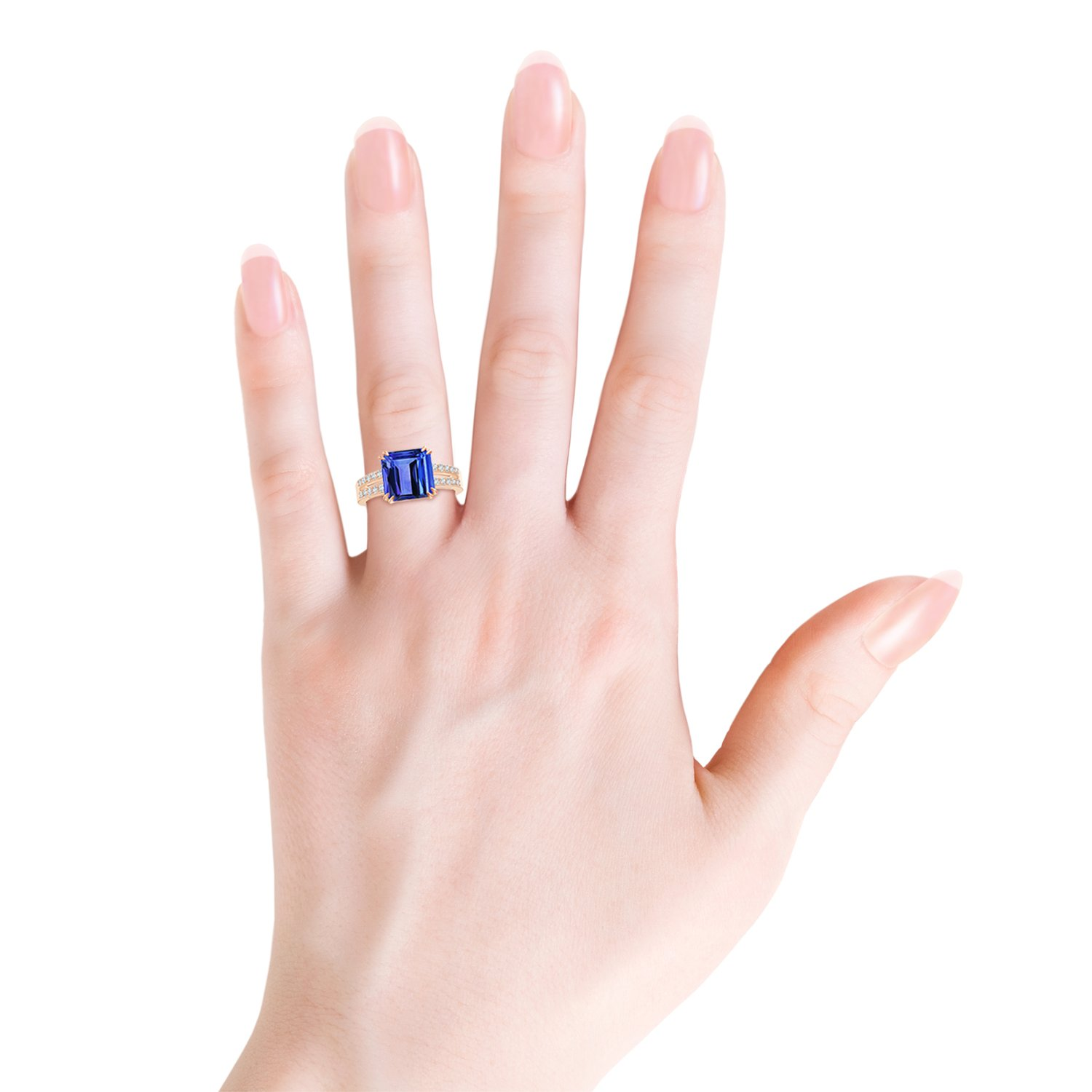 Holiday Offer - December Birthstone - Claw Set Emerald Cut Tanzanite Ring for Women with Diamond Accents in 14K Rose Gold (9mm Tanzanite) by Angara.com (Image #3)