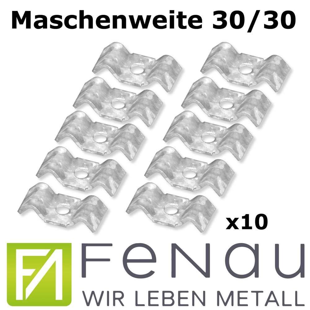 FeNau   Set: 10stk.   Schwalbenlasche für MW: 30 mm / 30 mm - S235JR / ST37 – feuerverzinkt gegen Korrosion - Gitterrost-Sicherung/Gitterrost-Befestigung