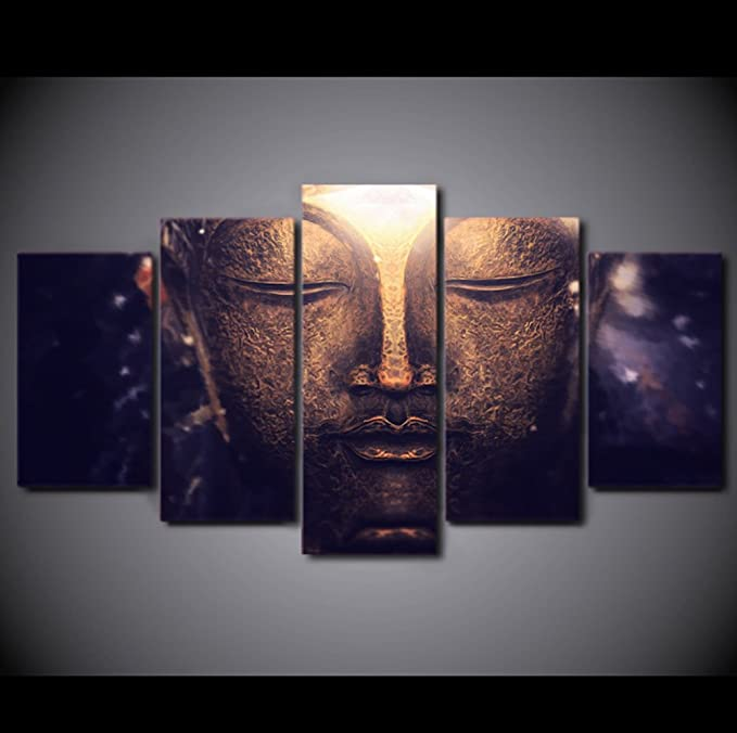 Home Decor Buddha Meditation Statue Canvas Prints Painting Wall Art Poster 5PCS