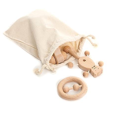 Coskiss Juguetes para rompecabezas Desarrollo intelectual de los niños Montessori juguetes Set Enfermería de dientes de madera de sonajeros Baby ...