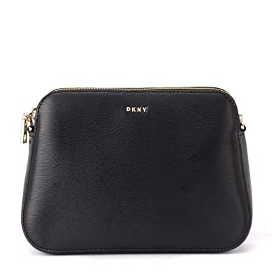 a6a5d31d945 DKNY Bryant Black Textured Leather Center Zip Cross-Body Bag Black Leather   Amazon.co.uk  Clothing