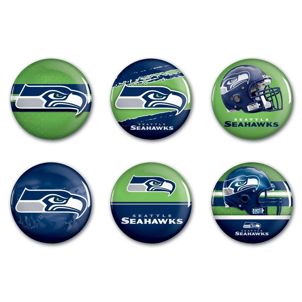 激安本物 NFLシアトルシーホークスwcr97971612ラウンドボタン(6パック)、2