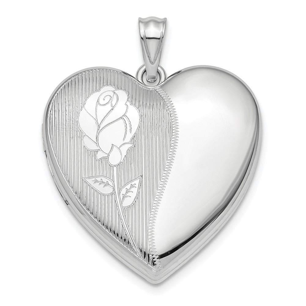 Sterling Silver Flower Ash Holder Heart Locket Charm Pendant