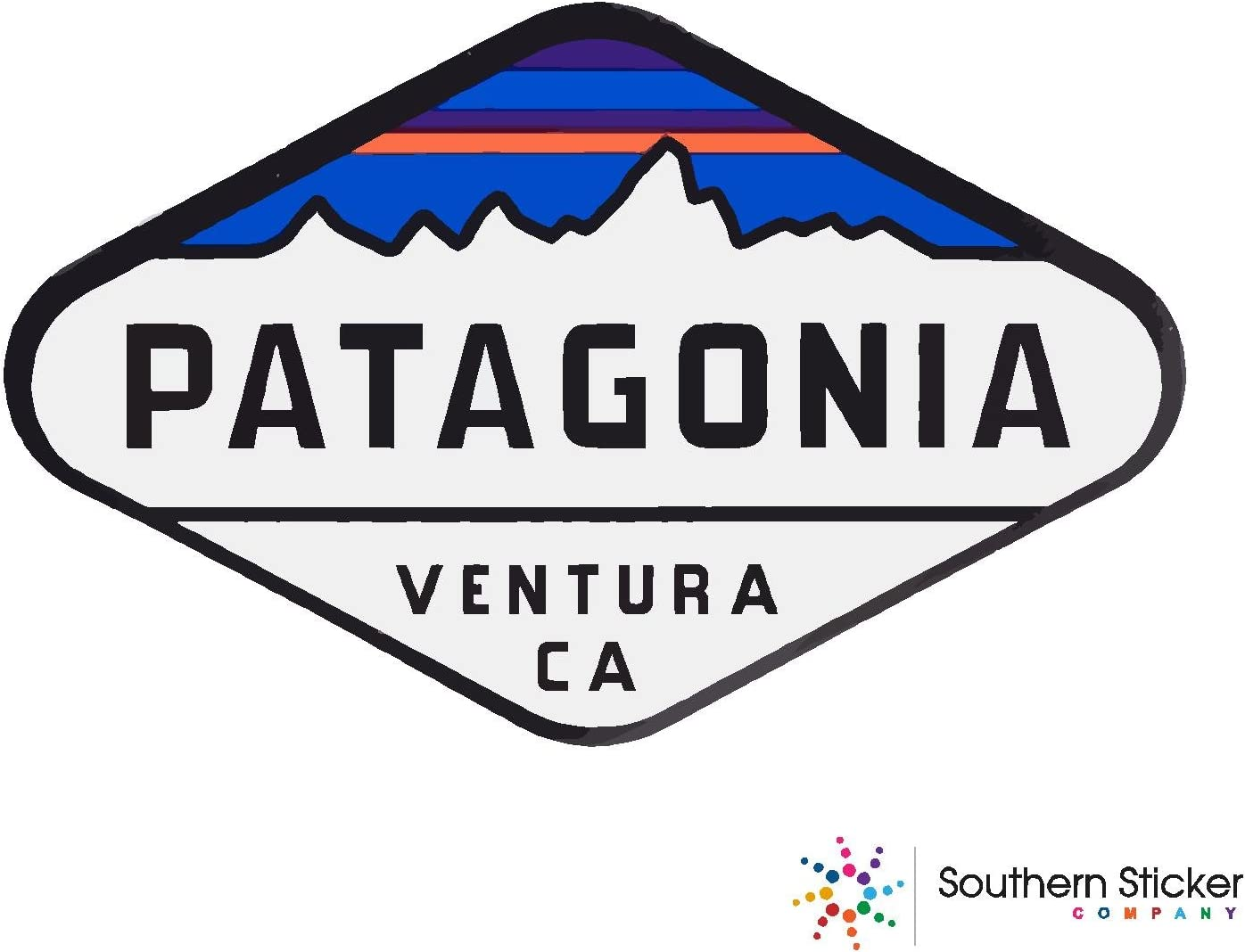 ExpressDecor Oval Patagonia Ventura CA Text Size 4x5.5 inches Made and Shipped in USA USA Flag Funny Stickers for pro Union Lunch Box Tool Box Symbol Window Travel Jeep Adventure Wanderlust