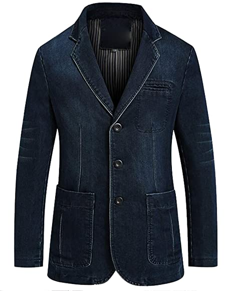 Oberora Men's Casual 3 Button Washed Denim Sport Coat at Amazon ...