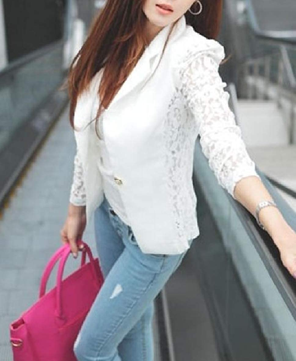 AngelSpace Women Simple Suit Coat Solid Colored Floral Lace Long Sleeve Outwear White