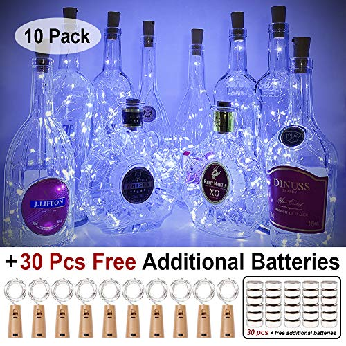 Halloween Painted Wine Bottles (MUMUXI 10 Pack 20 LED Wine Bottle Lights with Cork, 3.3ft Silver Wire Cork Lights Battery Operated Fairy Mini String Lights For Liquor Bottles Crafts Party Wedding Halloween Christmas Decor,Cool)