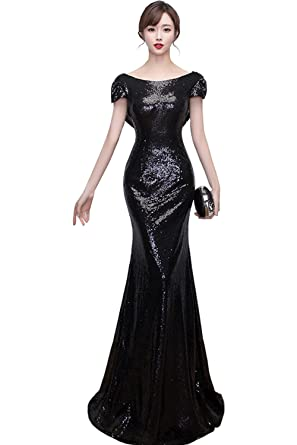 23b4f289ab8 WDING Black Sequin Bridesmaid Dresses Mermaid Sparkly Backless Wedding  Party Gown Black