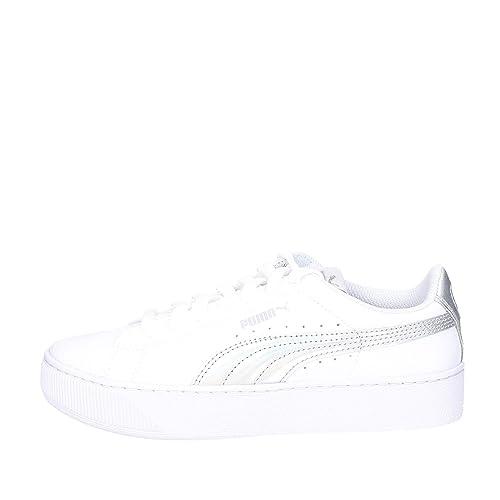 PUMA bajas zapatillas de deporte de las mujeres 365,629 02 Vikky PLATAFORMA IRIDISCENTE talla 40.5 Blanco / plata: Amazon.es: Zapatos y complementos