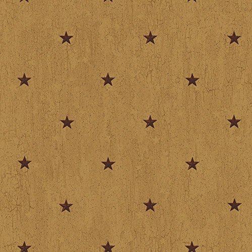 [York Wallcoverings YC3423 Welcome Home Barn Star Spot Wallpaper, Manila Tan/Barn Red/Black] (Barn Star Wallpaper)