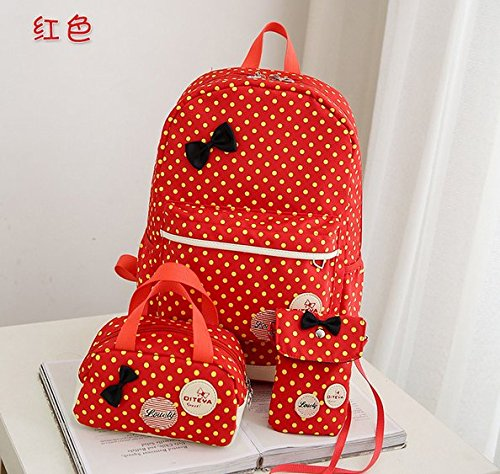 5Cinco tres paquetes estudiantes ocio viajes Cute ola punto mochila/bolso de mano/Mini bolsa mochila negro negro Naranja