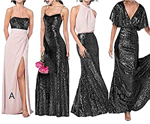 Staypretty V Neck Sequins Backless Cap Sleeve Wedding Dress Ruffled Prom Dresses Bridesmaid Gown Long Formal Party Dresses