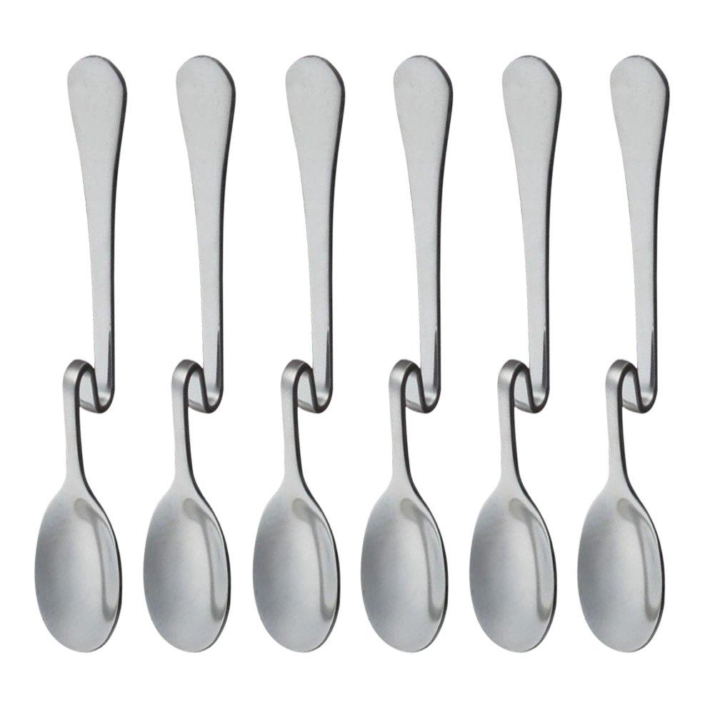 Set of 6 Hanging Coffee Spoon Creative Bending Handle Stainless Steel Stirring Spoons for Tea Coffee Dessert (Vertical Hanging L)
