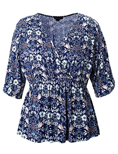 Chicwe Women's Plus Size Stretch Kimono Faux Wrap Top - Casual and Work Blouse ()