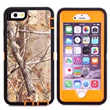 "MOONCASE iPhone 6S Case, [Realtree Camo Series] 3 Layers Heavy Duty Defender Hybrid Soft TPU +PC Bumper Triple Shockproof Drop Resistance Protective Case Cover for Apple iPhone 6 6S 4.7"" -Orange Tree"