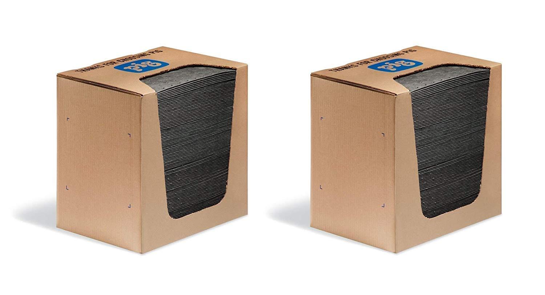 New Pig Mat Pads in Dispenser Box - 100 Absorbent Mats - 12 Ounce Absorbency - 13'' x 10'' - MAT251 (2 X Pack of 100)