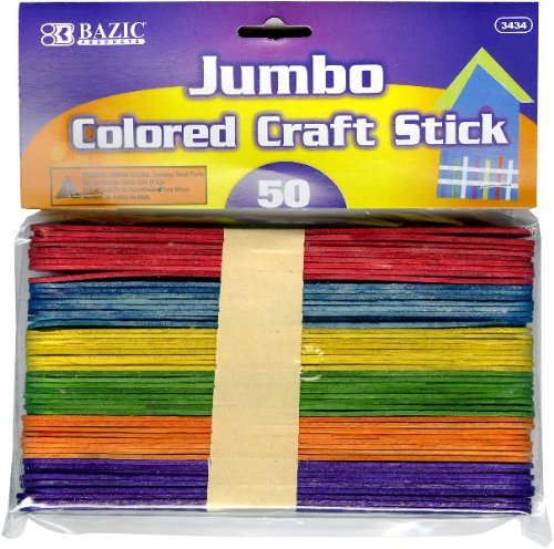 BAZIC Jumbo Colored Craft Stick 50/Pack by Bazic