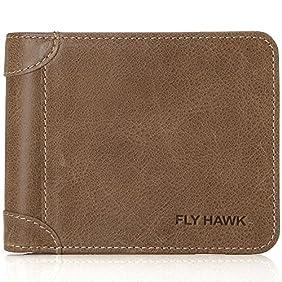 FlyHawk RFID Blocking Genuine Leather Wallets for Mens Bifold Money Clip Purse
