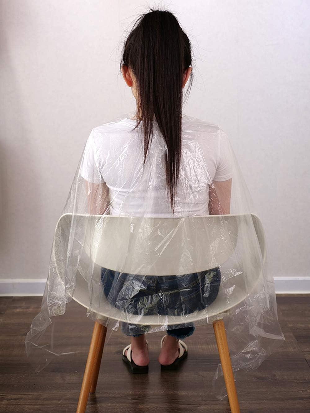 Capa de corte desechable, 100 unidades, para peluquería, para corte y tinte de pelo, resistente al agua, delantal, peluquería, para adultos y niños, 150 x 120 cm