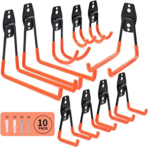 Sposuit Heavy Duty Garage Storage Hook - 10 Pack Garage Organizer Hanging Hooks, Large Tool Hook for Garage Wall, Utility Basement Ladder Hooks for Shovels, Bike, Folding Chair, Power Garden Tool