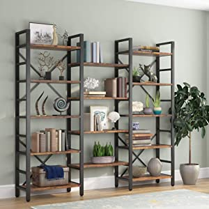 Tribesigns Triple Wide 5-Shelf Bookcase, Etagere Large Open Bookshelf Vintage Industrial Style Shelves Wood and Metal bookcases Furniture for Home & Office (Vintage Brown)
