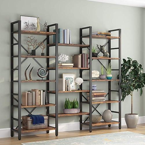 Tribesigns Triple Wide 5-Shelf Bookcase