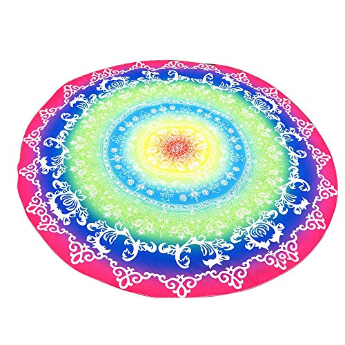(NRUTUP Round Printing Hippie Tapestry Beach Picnic Throw Yoga Mat Towel Blanket Clearance Hot Sales(Multicolor,B))