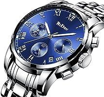 腕時計、メンズ腕時計、ラグジュアリークラシックステンレス腕時計ビジネスカジュアルウォッチメンズ防水マルチ機能クォーツ腕時計メンズ