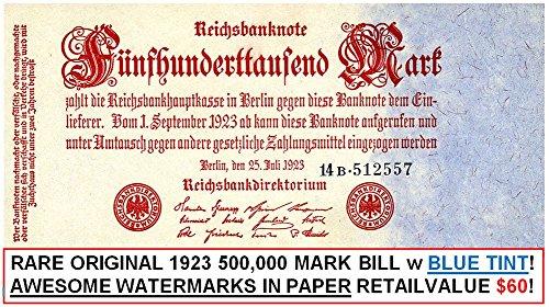 1923 DE STUNNING 1923 GERMAN EMPIRE INFLATION BANKNOTE! 500,000 MARKS w BLUE TINT/WILD WATERMARKS! CV $60 HOT HOT HOT 500,000 Marks AU-CU