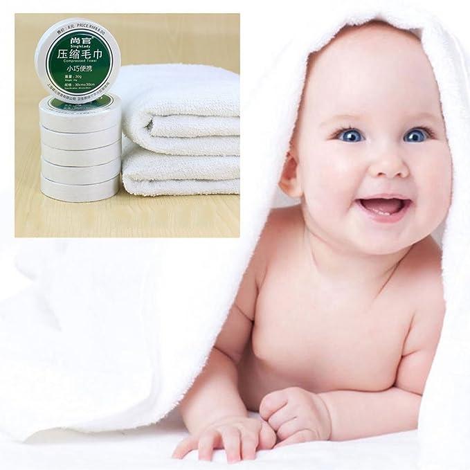 GEZICHTA - Toallas de compresión, reutilizables, algodón + poliéster, toallas plegables comprimidas, ahorro de espacio, algodón, hoteles, camping, ...