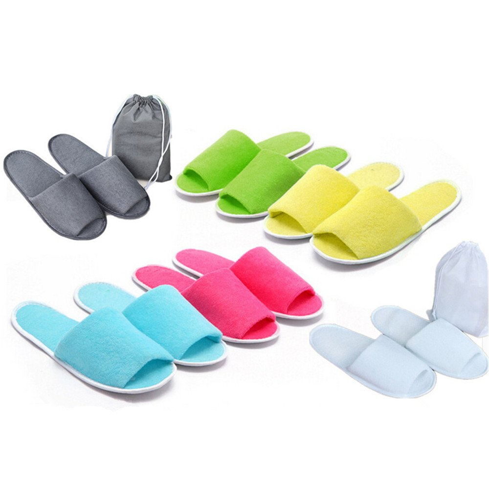 SQingYu 1 Pair Unisex Travel non-disposable portable folding EVA slippers, Home indoor Breathable slipper for men and women(Grey)
