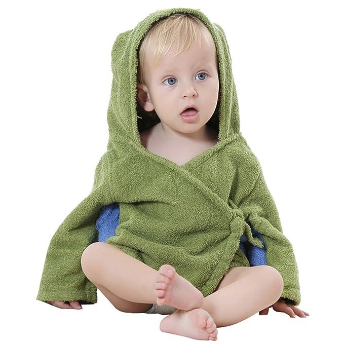 YOUJIA Albornoz De Baño Capucha Mangas Largas para Bebés Toalla De Diseño Animales para Ejercito Verde: Amazon.es: Ropa y accesorios