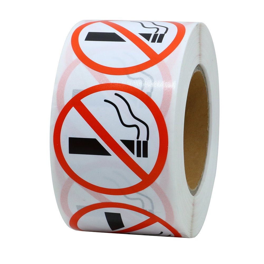 Hybsk No Smoking Logo Warning Stickers 1.5 Round 500 Total Per Roll