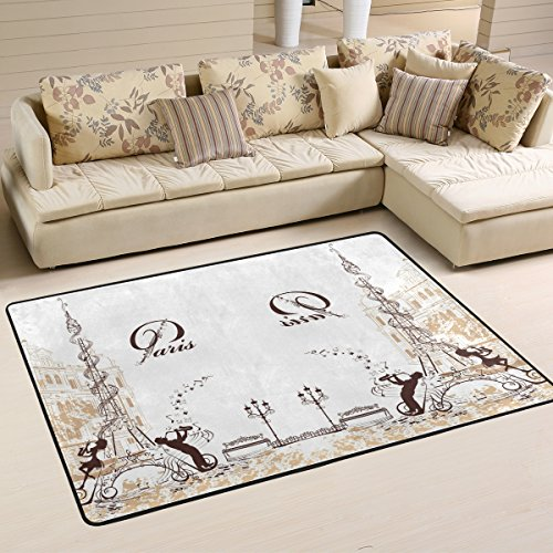 XiangHeFu Area Rugs Doormats Romantic Eiffel Tower Decorated with Musical Stave Notes and Musicians Soft Carpet Mat 6'x4' (72x48 Inches) for Living Dining Dorm Room Bedroom Home Decorative