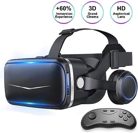 Auriculares de Realidad Virtual VR Auriculares para iPhone/Android, Gafas 3D HD VR para TV, películas y Videojuegos - Gafas de Realidad Virtual Gafas VR compatibles (con Control Remoto): Amazon.es: Deportes y aire