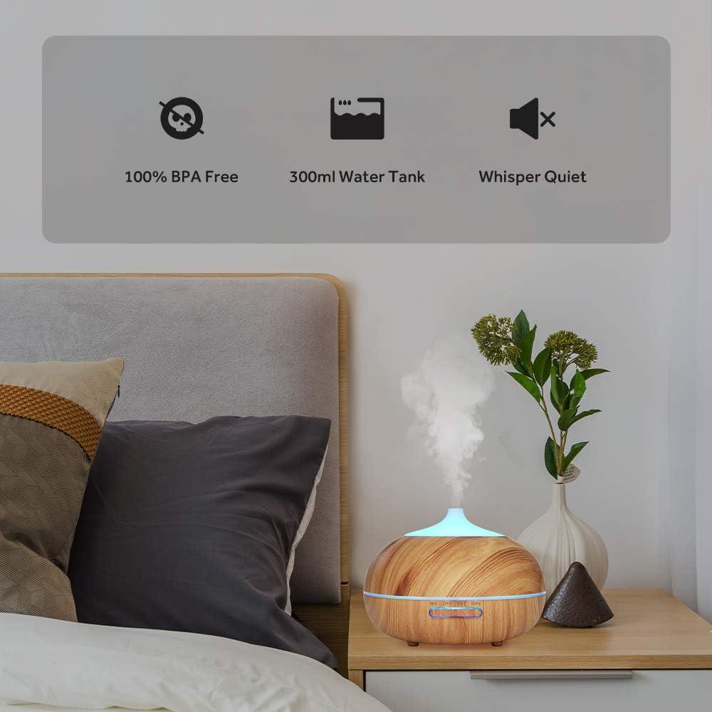 WD/&CD Humidificador Aromaterapia Ultras/ónico Oficina,Dormitorio /—Blanco Hogar 300ML 3 Ajuste de Tiempo,S/úper Mudo Difusor de Aceites Esenciales de luz para Bebes , 7-Color LED