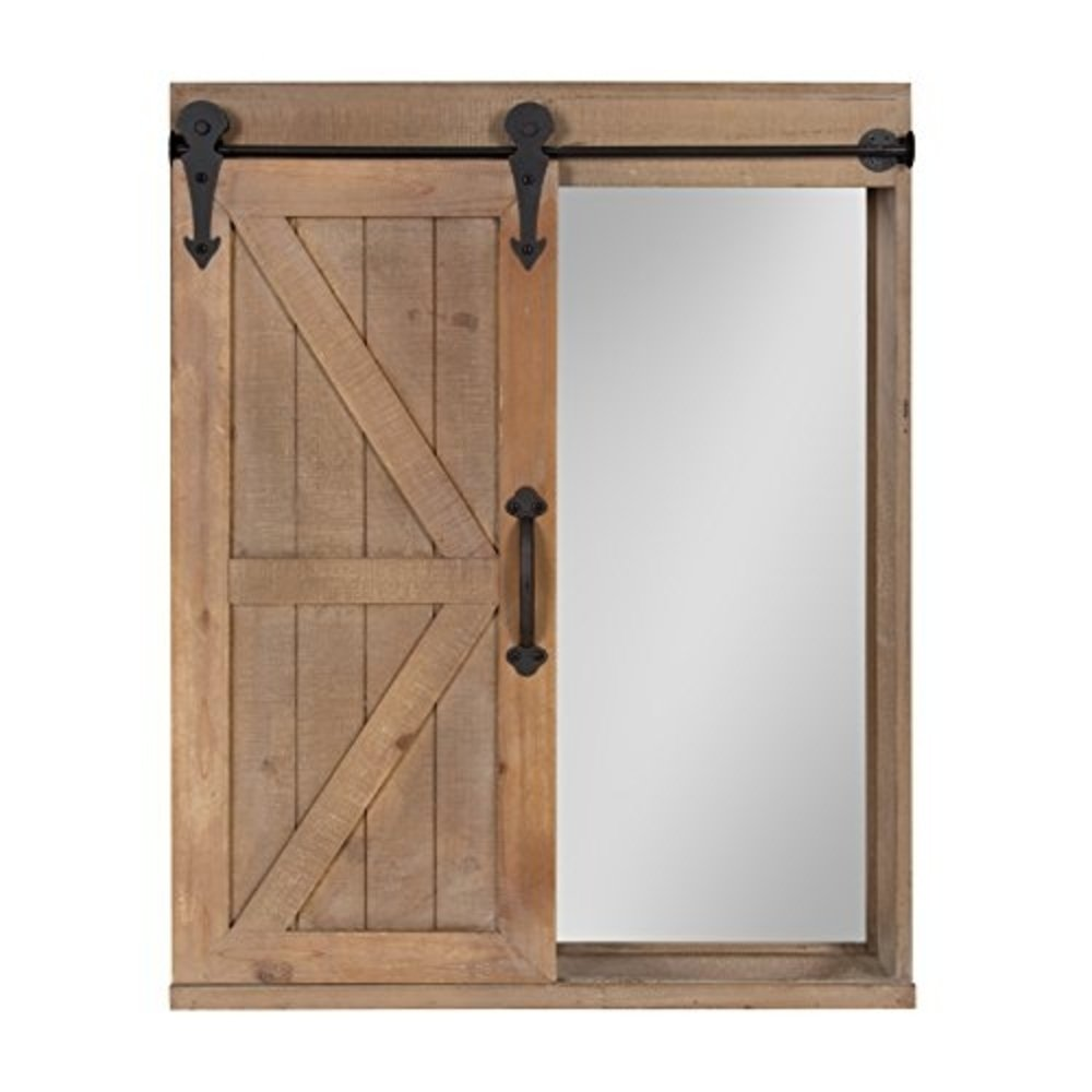Kate and Laurel - Cates Wood Wall Storage Cabinet with Vanity Mirror and Sliding Barn Door, Rustic Brown