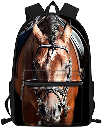 Coloranimal Cool Brown 3D Animal Crazy Horse Design Backpack for Middle High Students Bookbags