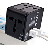 eErlik Universal International Travel Adapter 2 Port/USB Wall Charger Worldwide AC Outlet Plugs for Europe, UK, US, AU, Asia Black,Universal Travel Adapter fit for Over 150 Countries All in one.