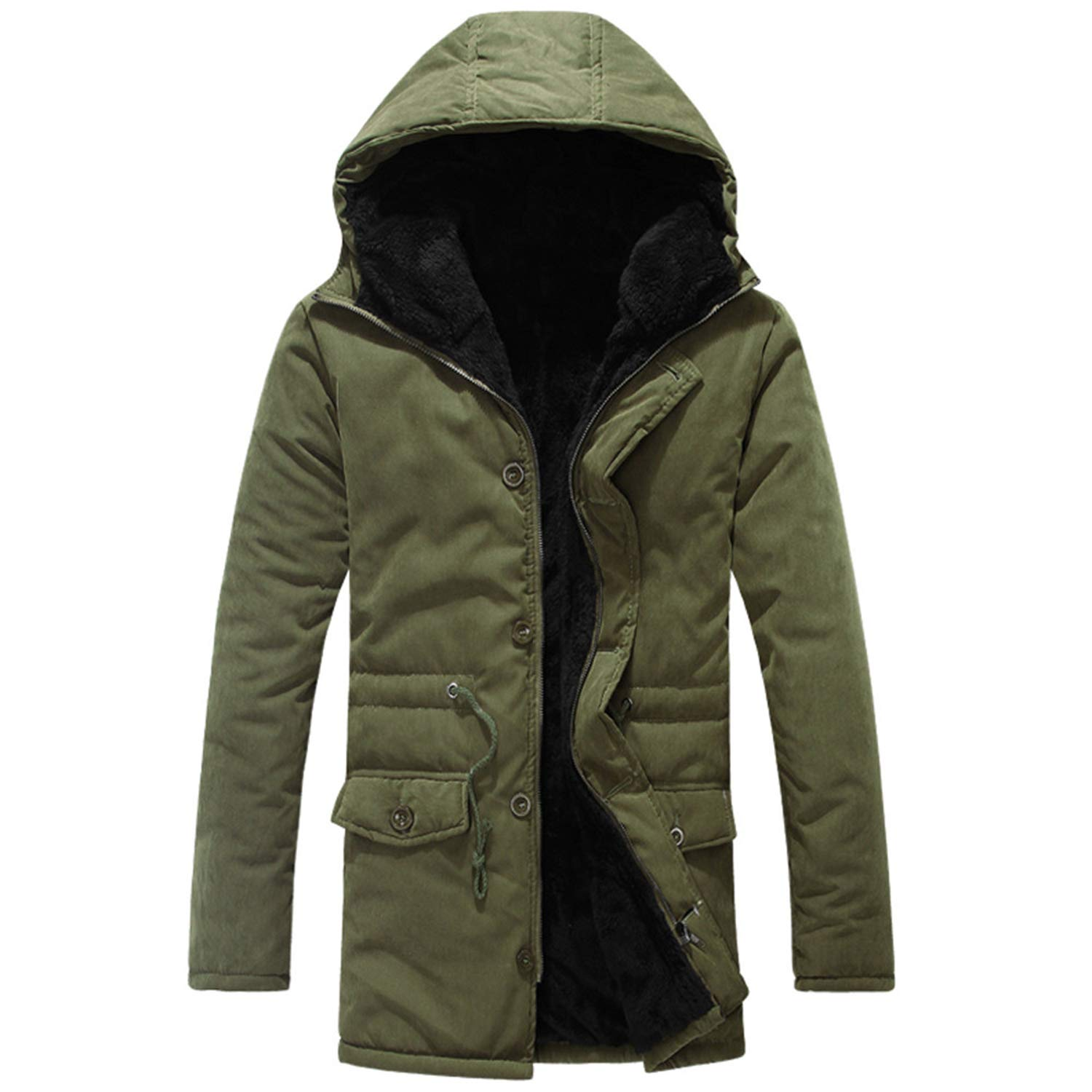 Army Green Medium dextrad fashionhoodies Jacket Men Winter Leisure Pure color Hoodie Thicker Velvet Cotton Coat Jacket