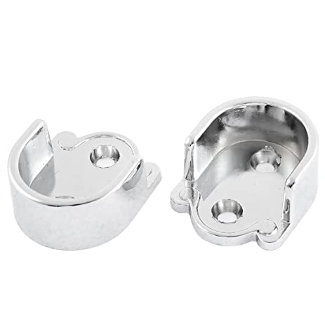 Awesome 25mm Dia Clothes Closet Rod Flange Holder Bracket Silver Tone 2 Pcs